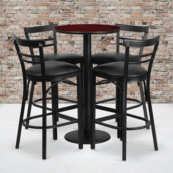 Wholesale 24'' Round Mahogany Laminate Table Set with Round Base and 4 Two-Slat Ladder Back Metal Barstools - Black Vinyl Seat