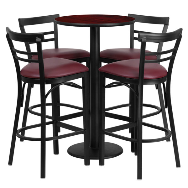 Lowest Price 24'' Round Mahogany Laminate Table Set with Round Base and 4 Two-Slat Ladder Back Metal Barstools - Burgundy Vinyl Seat