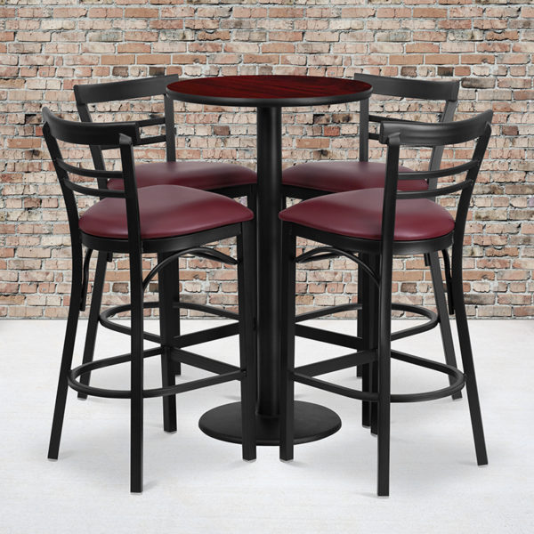 Wholesale 24'' Round Mahogany Laminate Table Set with Round Base and 4 Two-Slat Ladder Back Metal Barstools - Burgundy Vinyl Seat