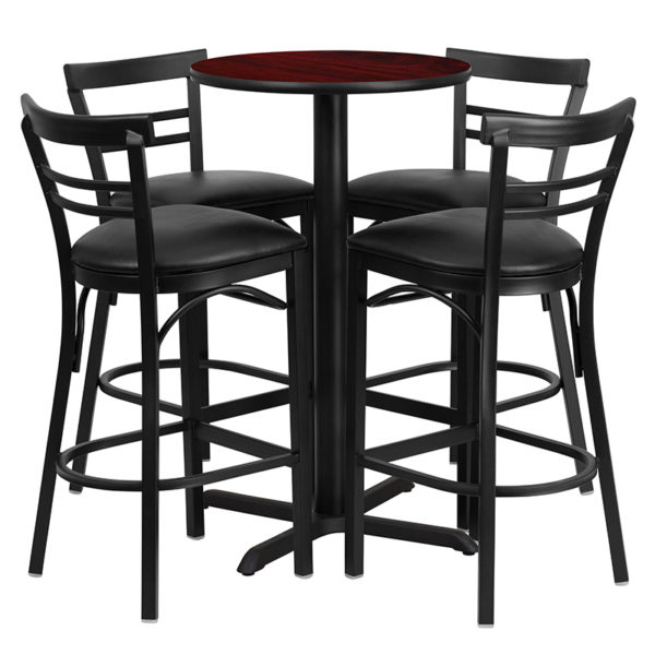 Lowest Price 24'' Round Mahogany Laminate Table Set with X-Base and 4 Two-Slat Ladder Back Metal Barstools - Black Vinyl Seat