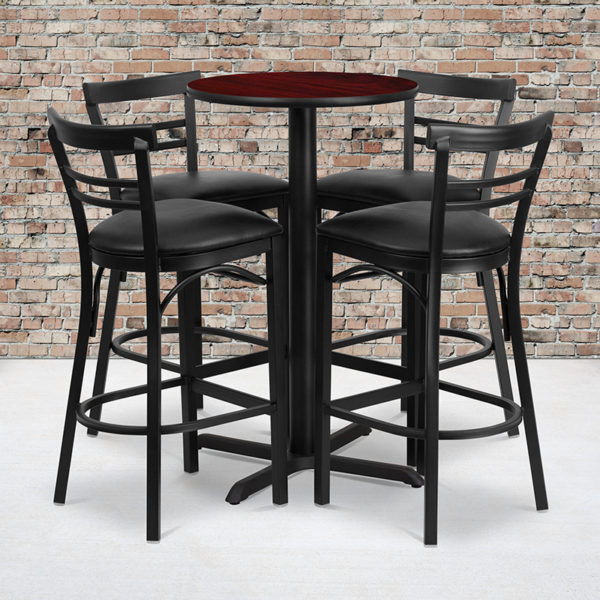 Wholesale 24'' Round Mahogany Laminate Table Set with X-Base and 4 Two-Slat Ladder Back Metal Barstools - Black Vinyl Seat