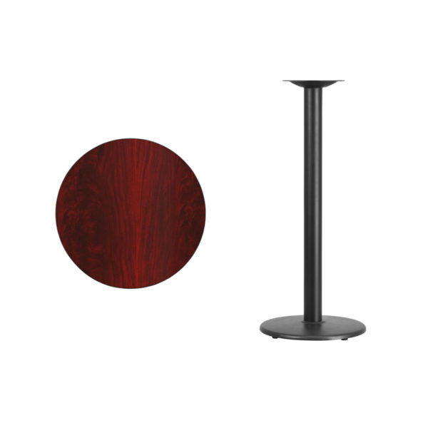 Lowest Price 24'' Round Mahogany Laminate Table Top with 18'' Round Bar Height Table Base