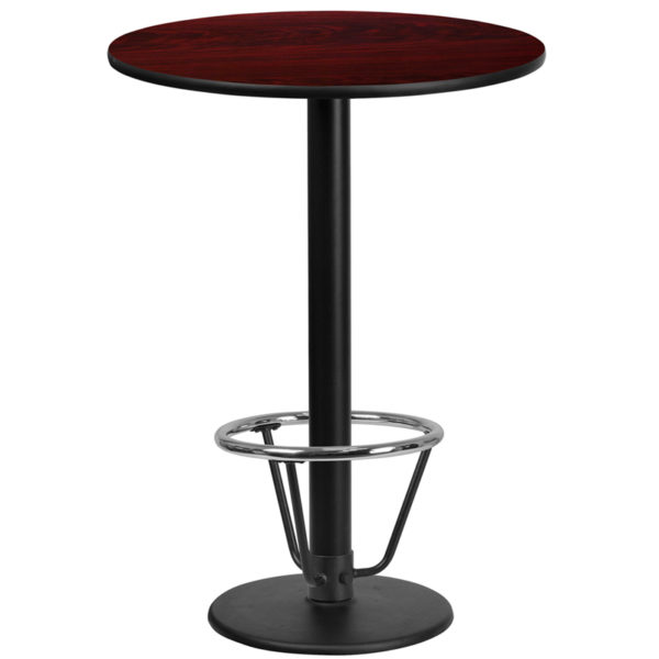 Wholesale 24'' Round Mahogany Laminate Table Top with 18'' Round Bar Height Table Base and Foot Ring