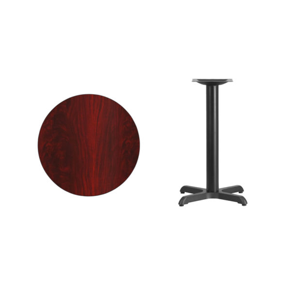 Lowest Price 24'' Round Mahogany Laminate Table Top with 22'' x 22'' Table Height Base
