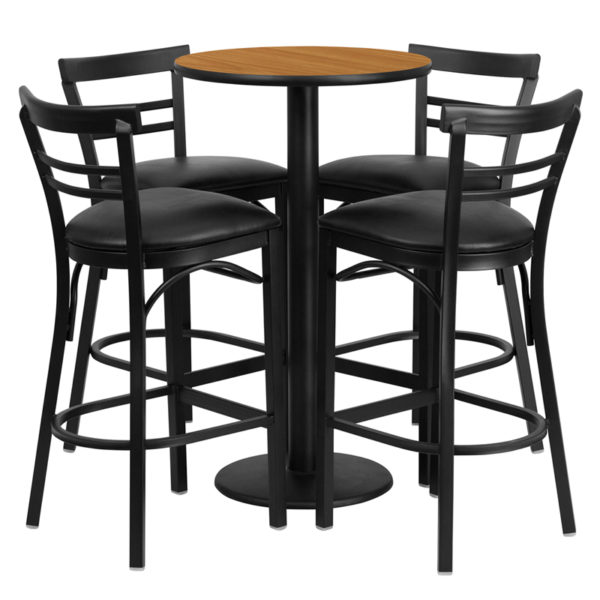 Lowest Price 24'' Round Natural Laminate Table Set with Round Base and 4 Two-Slat Ladder Back Metal Barstools - Black Vinyl Seat