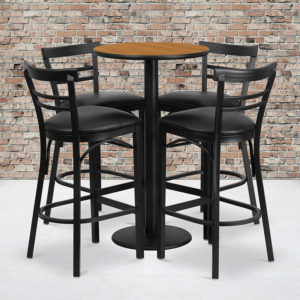Wholesale 24'' Round Natural Laminate Table Set with Round Base and 4 Two-Slat Ladder Back Metal Barstools - Black Vinyl Seat