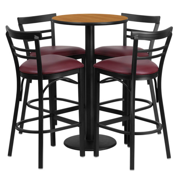 Lowest Price 24'' Round Natural Laminate Table Set with Round Base and 4 Two-Slat Ladder Back Metal Barstools - Burgundy Vinyl Seat