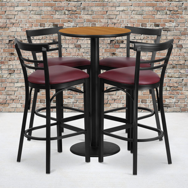 Wholesale 24'' Round Natural Laminate Table Set with Round Base and 4 Two-Slat Ladder Back Metal Barstools - Burgundy Vinyl Seat
