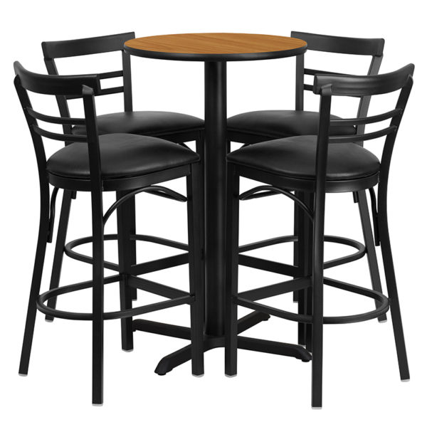 Lowest Price 24'' Round Natural Laminate Table Set with X-Base and 4 Two-Slat Ladder Back Metal Barstools - Black Vinyl Seat