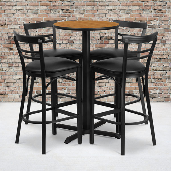 Wholesale 24'' Round Natural Laminate Table Set with X-Base and 4 Two-Slat Ladder Back Metal Barstools - Black Vinyl Seat