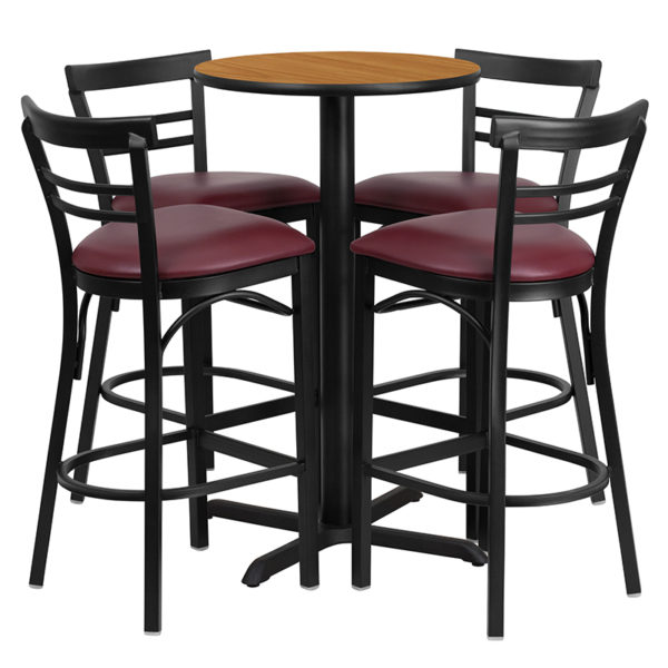 Lowest Price 24'' Round Natural Laminate Table Set with X-Base and 4 Two-Slat Ladder Back Metal Barstools - Burgundy Vinyl Seat