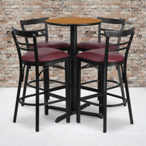 Wholesale 24'' Round Natural Laminate Table Set with X-Base and 4 Two-Slat Ladder Back Metal Barstools - Burgundy Vinyl Seat
