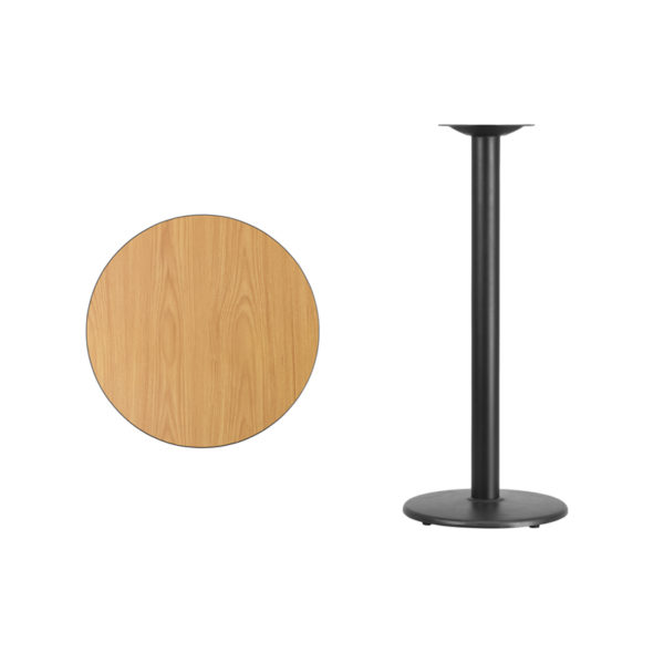 Lowest Price 24'' Round Natural Laminate Table Top with 18'' Round Bar Height Table Base