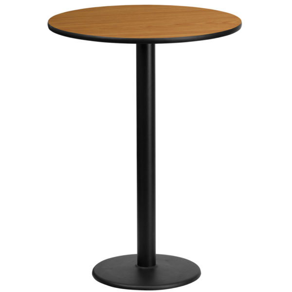 Wholesale 24'' Round Natural Laminate Table Top with 18'' Round Bar Height Table Base