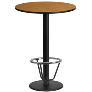 Wholesale 24'' Round Natural Laminate Table Top with 18'' Round Bar Height Table Base and Foot Ring