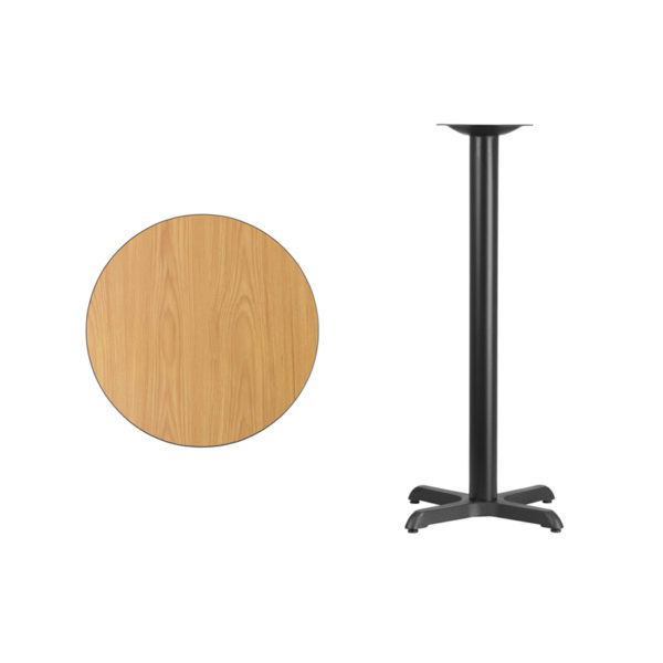 Lowest Price 24'' Round Natural Laminate Table Top with 22'' x 22'' Bar Height Table Base