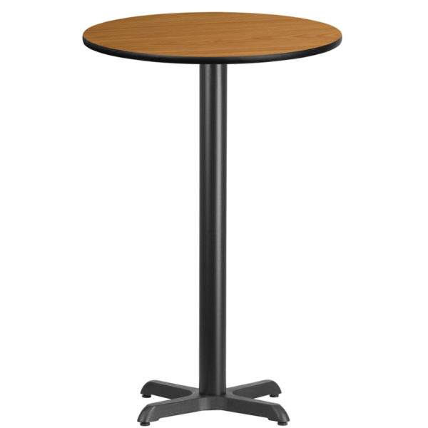 Wholesale 24'' Round Natural Laminate Table Top with 22'' x 22'' Bar Height Table Base