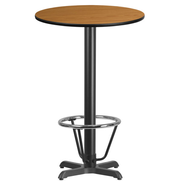 Wholesale 24'' Round Natural Laminate Table Top with 22'' x 22'' Bar Height Table Base and Foot Ring