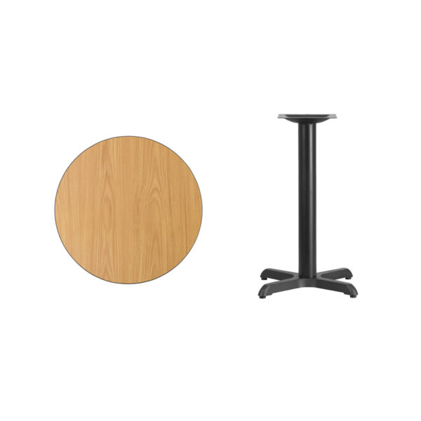 Lowest Price 24'' Round Natural Laminate Table Top with 22'' x 22'' Table Height Base