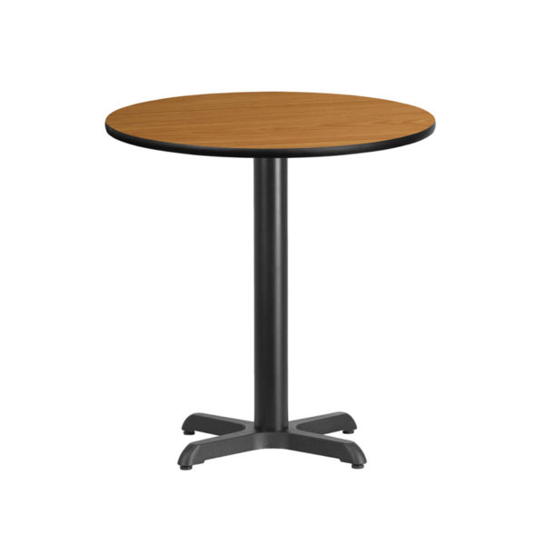 Wholesale 24'' Round Natural Laminate Table Top with 22'' x 22'' Table Height Base