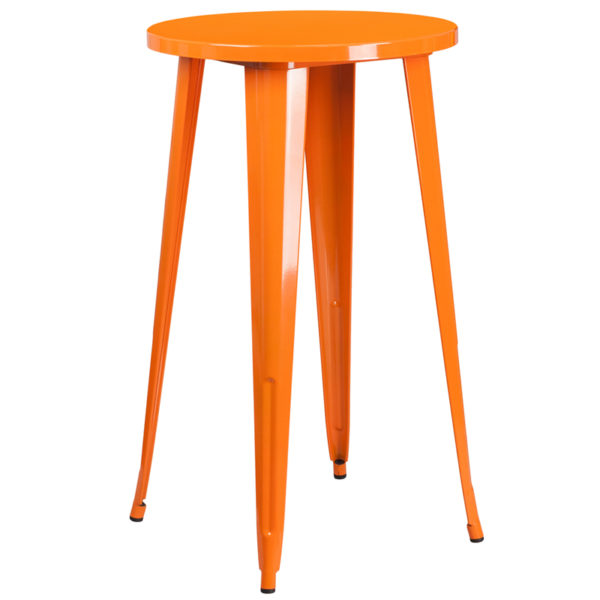 Wholesale 24'' Round Orange Metal Indoor-Outdoor Bar Height Table