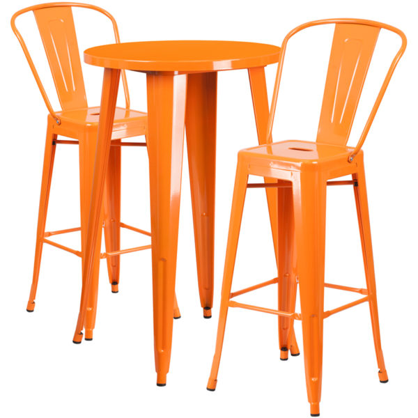 Lowest Price 24'' Round Orange Metal Indoor-Outdoor Bar Table Set with 2 Cafe Stools