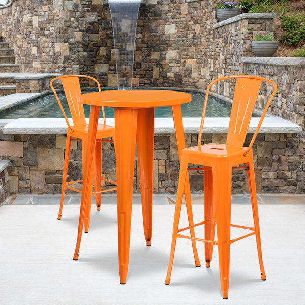 Wholesale 24'' Round Orange Metal Indoor-Outdoor Bar Table Set with 2 Cafe Stools
