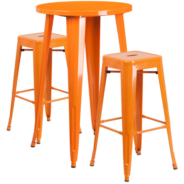 Lowest Price 24'' Round Orange Metal Indoor-Outdoor Bar Table Set with 2 Square Seat Backless Stools