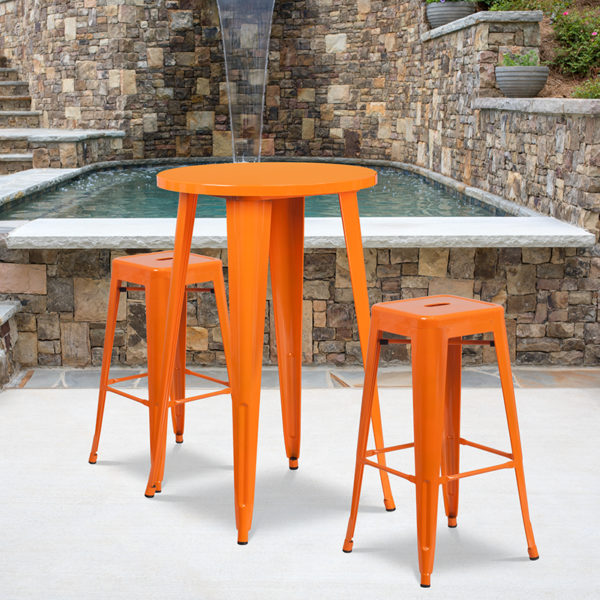 Wholesale 24'' Round Orange Metal Indoor-Outdoor Bar Table Set with 2 Square Seat Backless Stools
