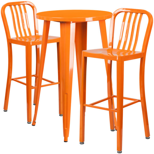 Lowest Price 24'' Round Orange Metal Indoor-Outdoor Bar Table Set with 2 Vertical Slat Back Stools