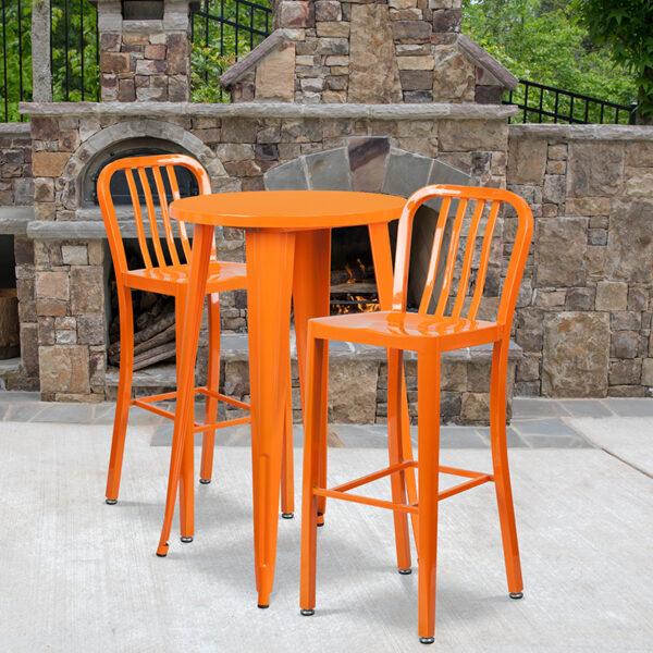 Wholesale 24'' Round Orange Metal Indoor-Outdoor Bar Table Set with 2 Vertical Slat Back Stools