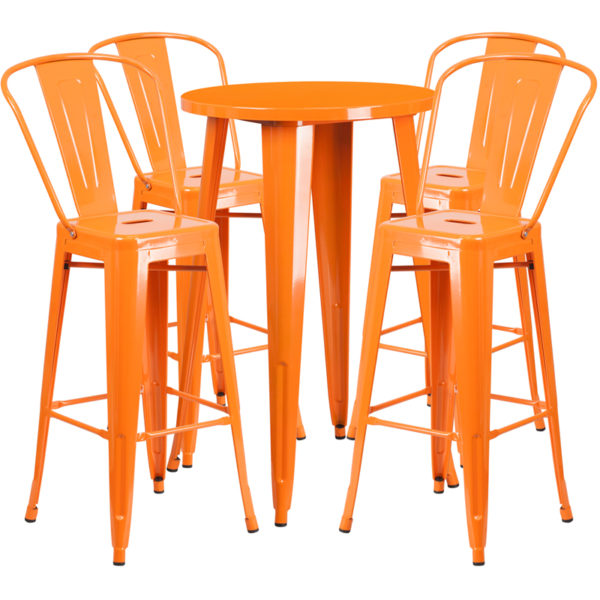 Lowest Price 24'' Round Orange Metal Indoor-Outdoor Bar Table Set with 4 Cafe Stools