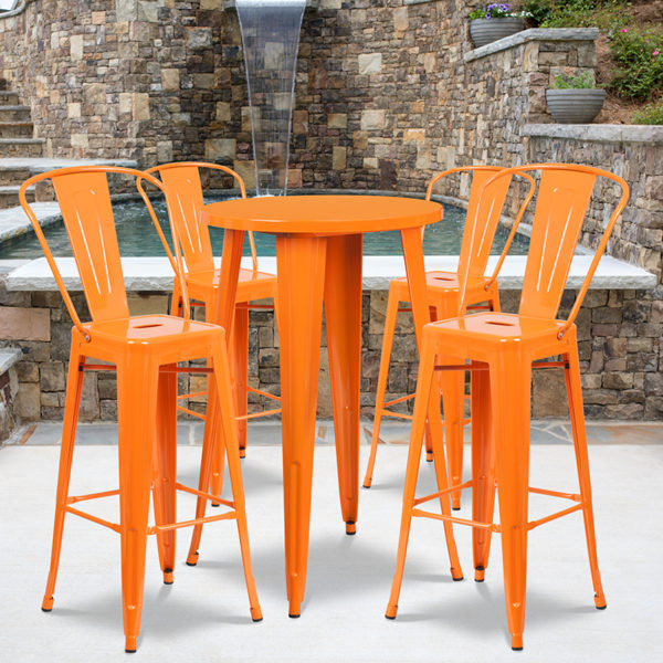 Wholesale 24'' Round Orange Metal Indoor-Outdoor Bar Table Set with 4 Cafe Stools