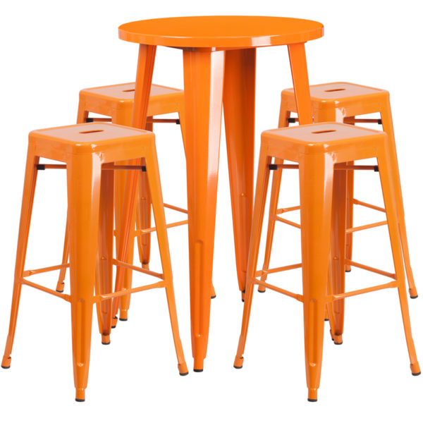 Lowest Price 24'' Round Orange Metal Indoor-Outdoor Bar Table Set with 4 Square Seat Backless Stools