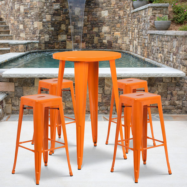 Wholesale 24'' Round Orange Metal Indoor-Outdoor Bar Table Set with 4 Square Seat Backless Stools