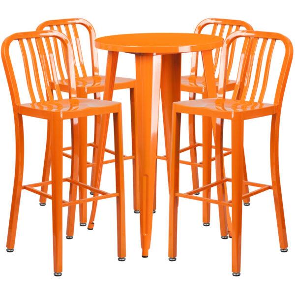 Lowest Price 24'' Round Orange Metal Indoor-Outdoor Bar Table Set with 4 Vertical Slat Back Stools