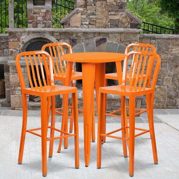 Wholesale 24'' Round Orange Metal Indoor-Outdoor Bar Table Set with 4 Vertical Slat Back Stools