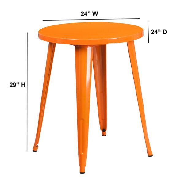 Lowest Price 24'' Round Orange Metal Indoor-Outdoor Table