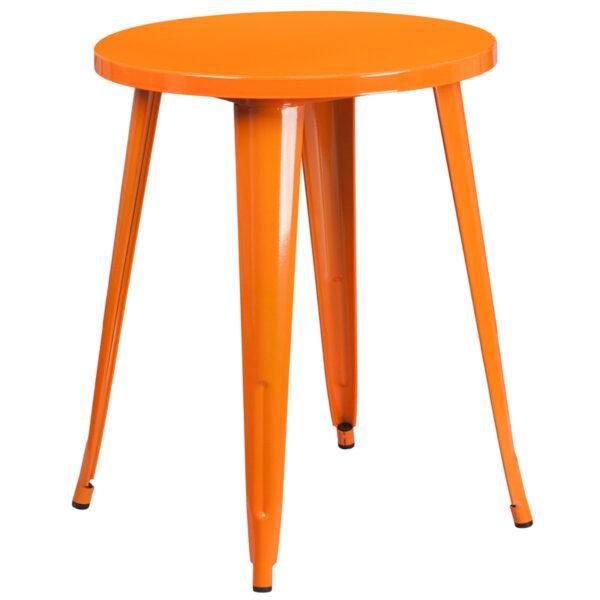 Wholesale 24'' Round Orange Metal Indoor-Outdoor Table