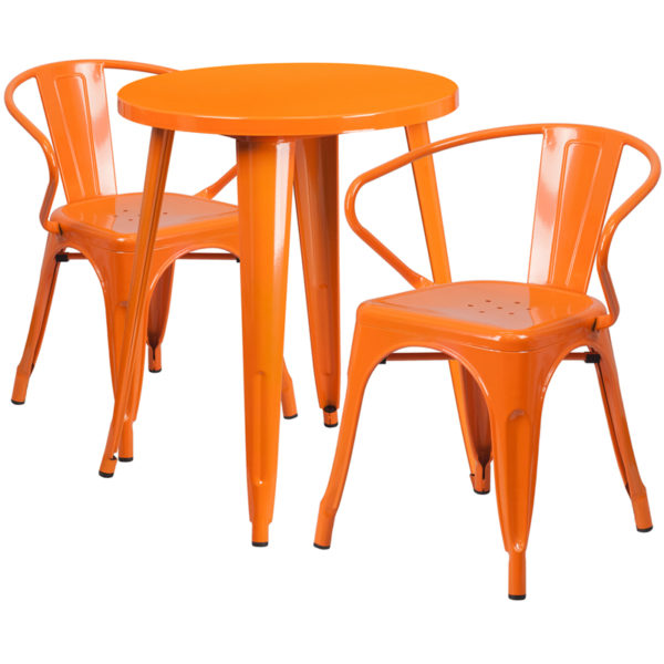 Wholesale 24'' Round Orange Metal Indoor-Outdoor Table Set with 2 Arm Chairs