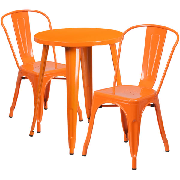 Wholesale 24'' Round Orange Metal Indoor-Outdoor Table Set with 2 Cafe Chairs
