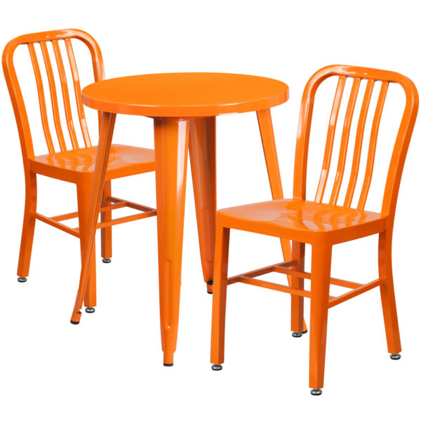 Wholesale 24'' Round Orange Metal Indoor-Outdoor Table Set with 2 Vertical Slat Back Chairs