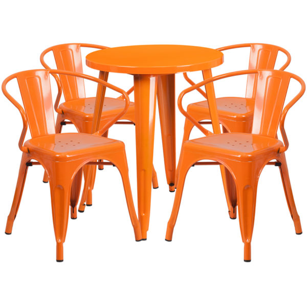 Wholesale 24'' Round Orange Metal Indoor-Outdoor Table Set with 4 Arm Chairs