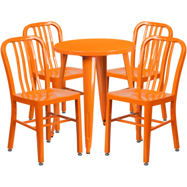 Wholesale 24'' Round Orange Metal Indoor-Outdoor Table Set with 4 Vertical Slat Back Chairs