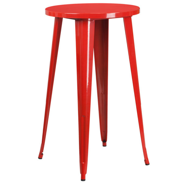 Wholesale 24'' Round Red Metal Indoor-Outdoor Bar Height Table
