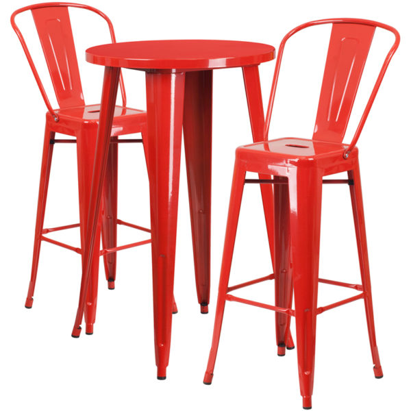 Lowest Price 24'' Round Red Metal Indoor-Outdoor Bar Table Set with 2 Cafe Stools
