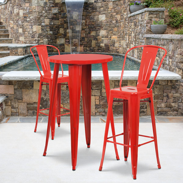 Wholesale 24'' Round Red Metal Indoor-Outdoor Bar Table Set with 2 Cafe Stools