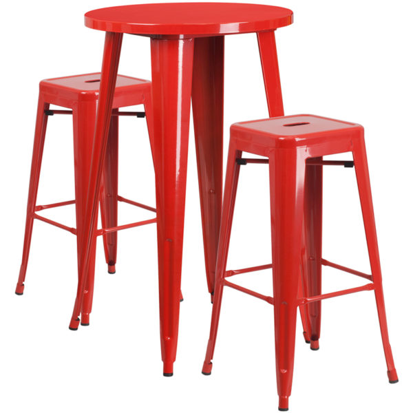 Lowest Price 24'' Round Red Metal Indoor-Outdoor Bar Table Set with 2 Square Seat Backless Stools