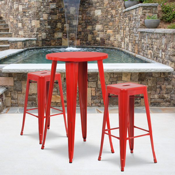Wholesale 24'' Round Red Metal Indoor-Outdoor Bar Table Set with 2 Square Seat Backless Stools