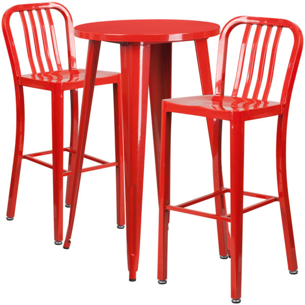 Lowest Price 24'' Round Red Metal Indoor-Outdoor Bar Table Set with 2 Vertical Slat Back Stools